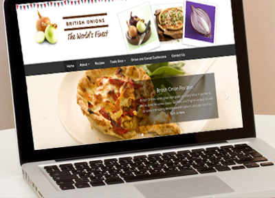Website design and development, Lincoln and Lincolnshire - British Onions website design, agricultural website, national agency website, onions, vegetable, recipes, creative web design, mobile and responsive.